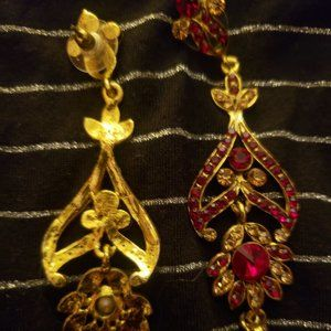 Red Zircon Crystal Floral Gold Earrings